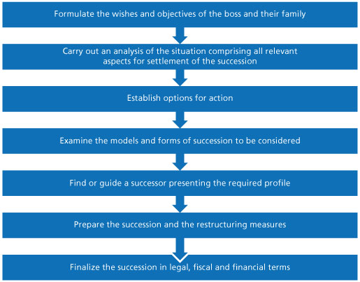 Graphic. Describes the different stages of successfully managing a business transfer