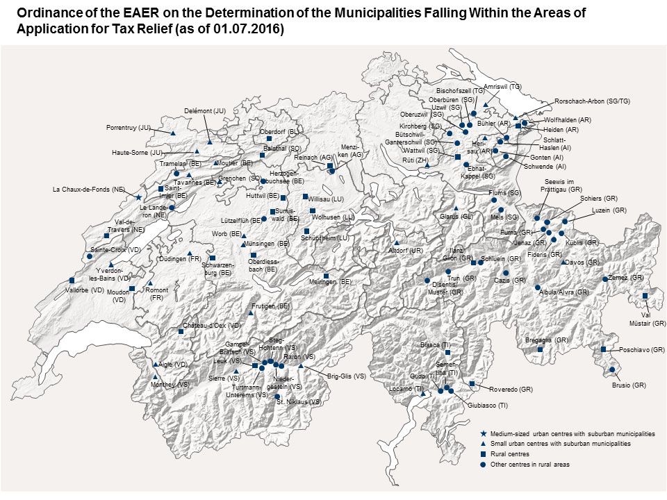 Map. Swiss communes belonging to practice areas concerning tax savings.