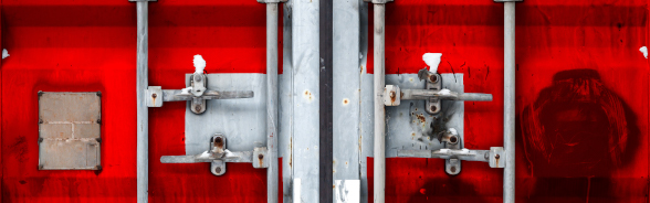 The closed door of a cargo container (of goods)