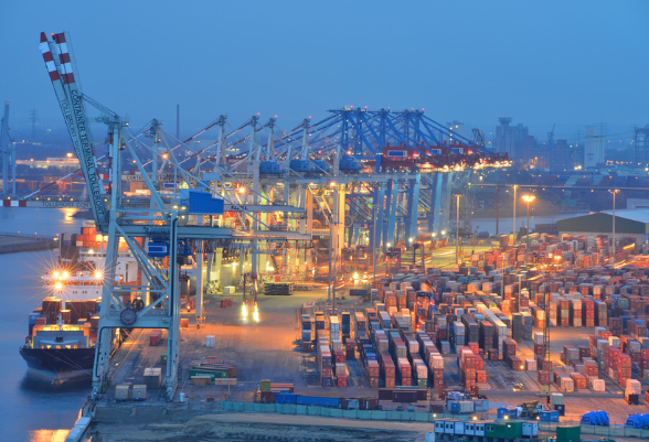 A cargo port with a large number of containers